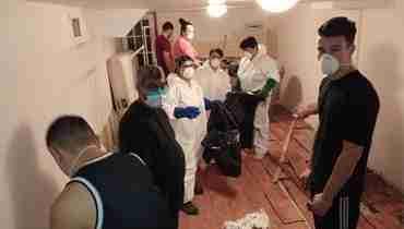 Flood restoration by crew