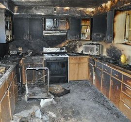 House affected by fire damage